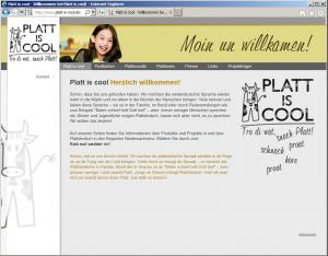 Webseite www.platt-is-cool.de